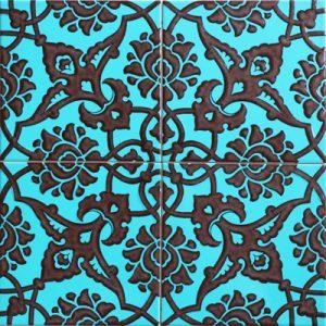 Cami Karoları 20X20 AC-83-Turkuaz-Siyah